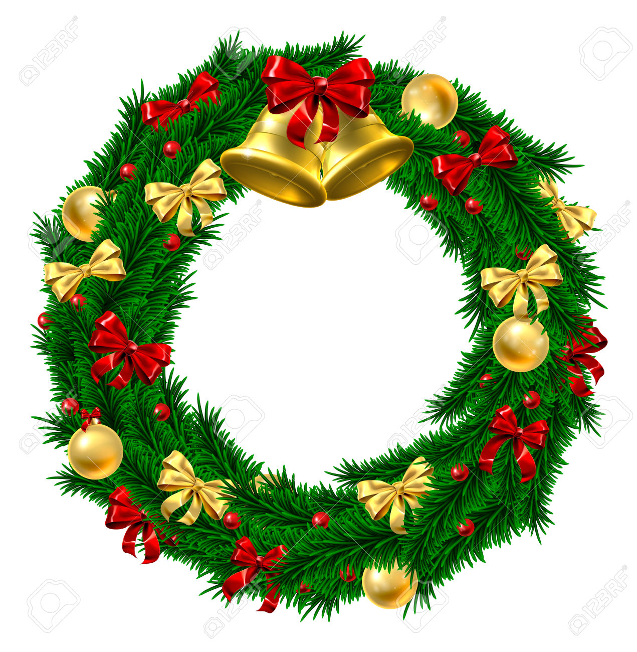 A Christmas Door Wreath Decoration With Gold And Red Bows And.