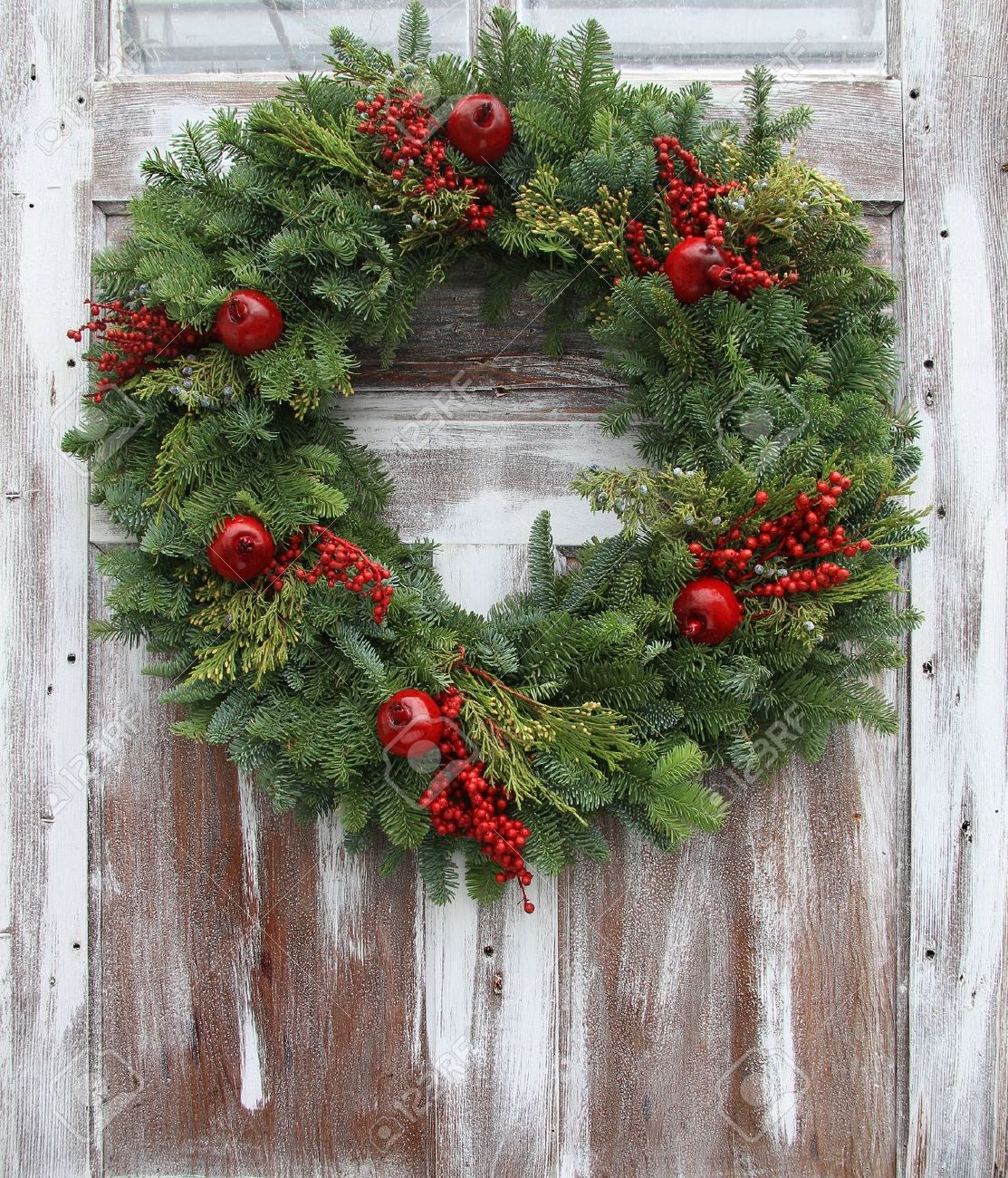 Christmas wreath on door clipart.