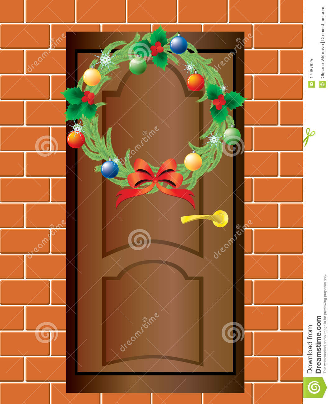 Christmas Wreath And The Front Door. Royalty Free Stock Photo.