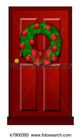Drawing of Red Door with Christmas Wreath Illustration k7900393.
