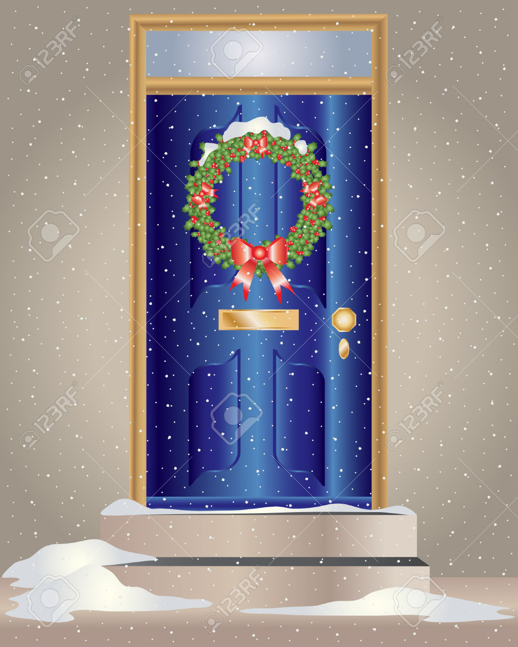 Christmas wreath on front door clipart.