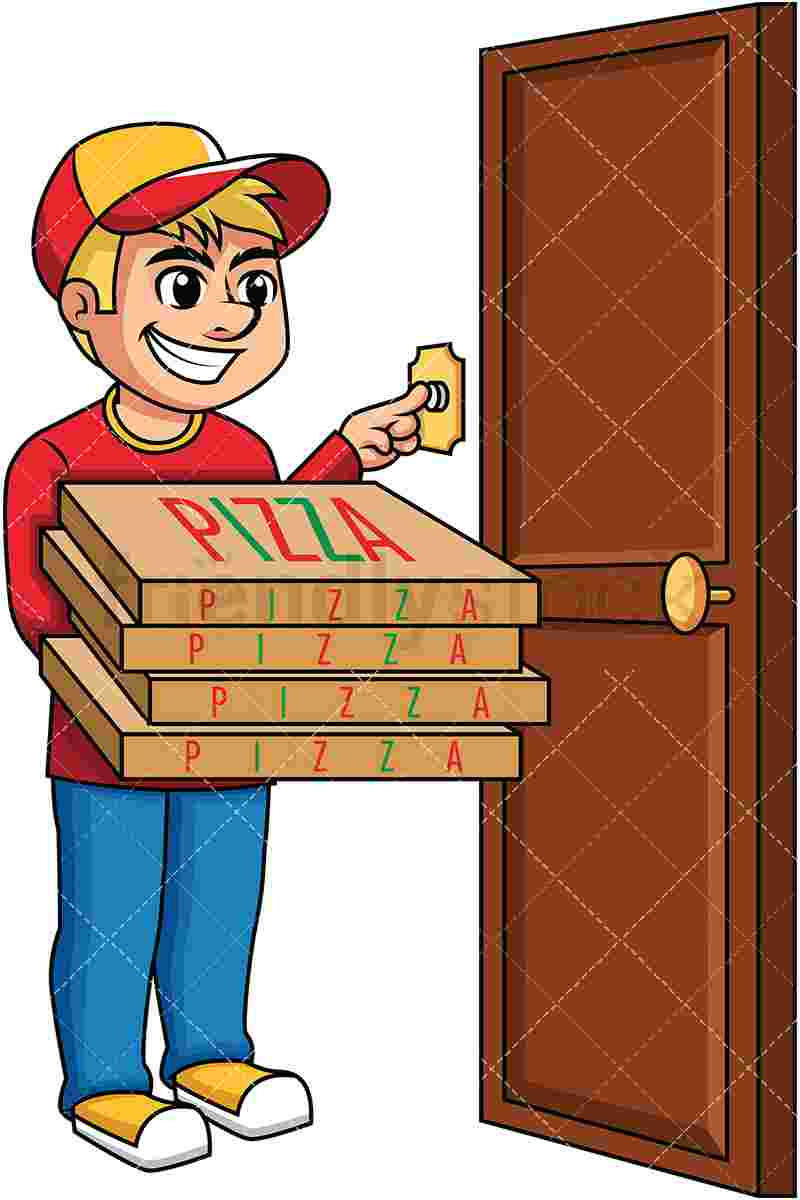 Best Cliparts: Doorbell Clipart Pizza Delivery Man Ringing.