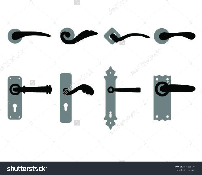 Set Door Knobs Door Handles Vector Stock Vector 176688797.