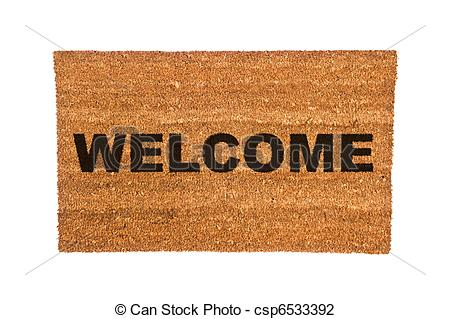 Stock Photo of Doormat with Welcome Text.