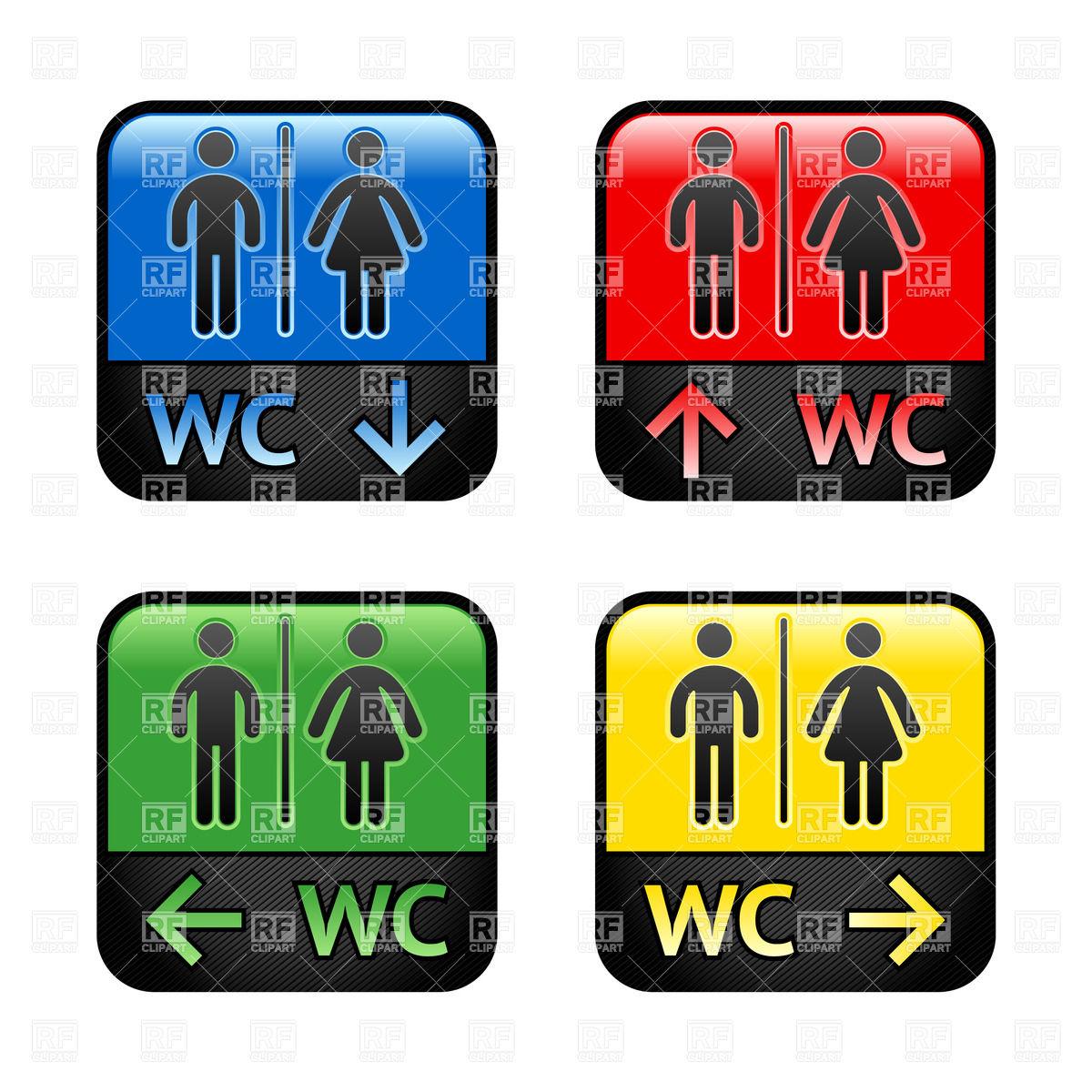 Restroom or WC doorplate.
