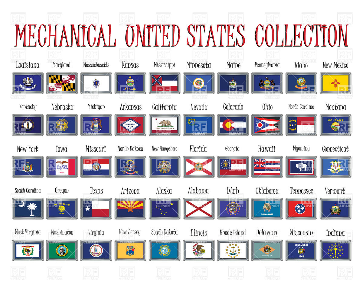 Door plates with states flags of USA Vector Image #11376.