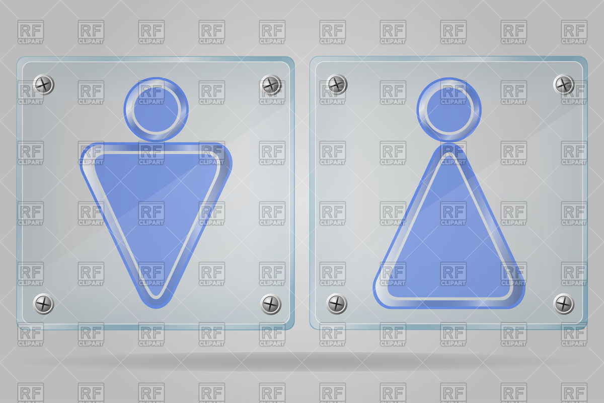 Transparent glass doorplates with man and woman WC signs.