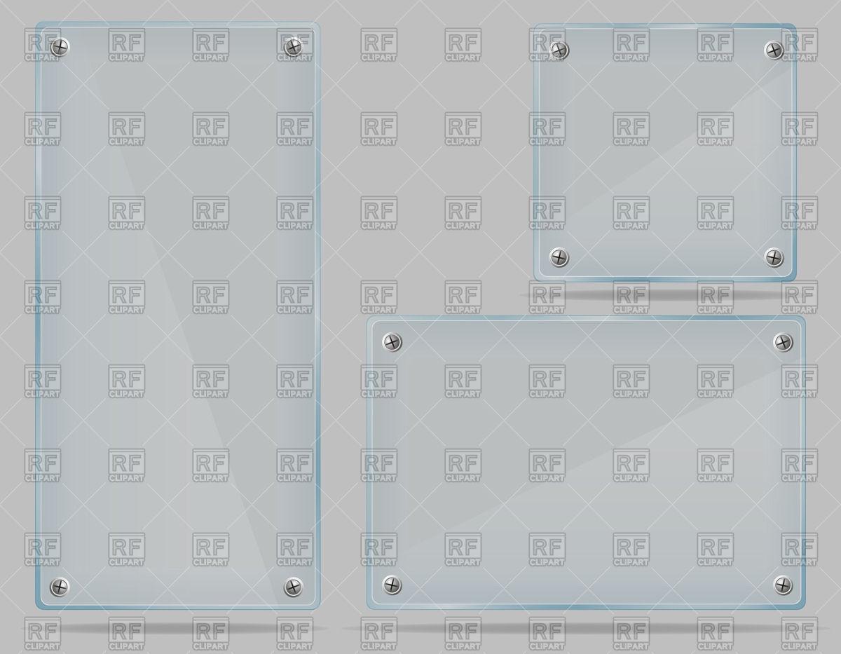 Rectangular screwed glass doorplates Vector Image #42789.