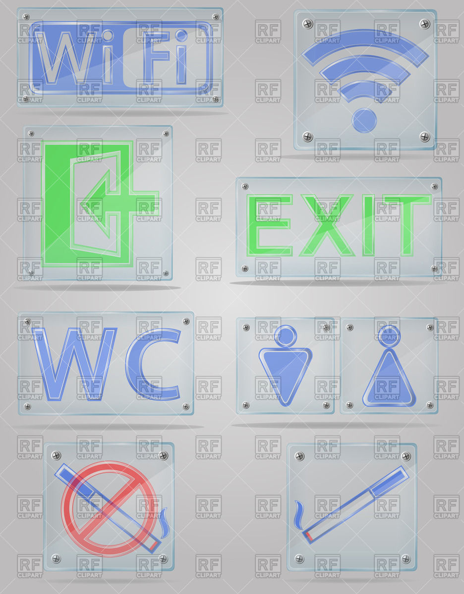 Signs on transparent door plates Vector Image #42808.