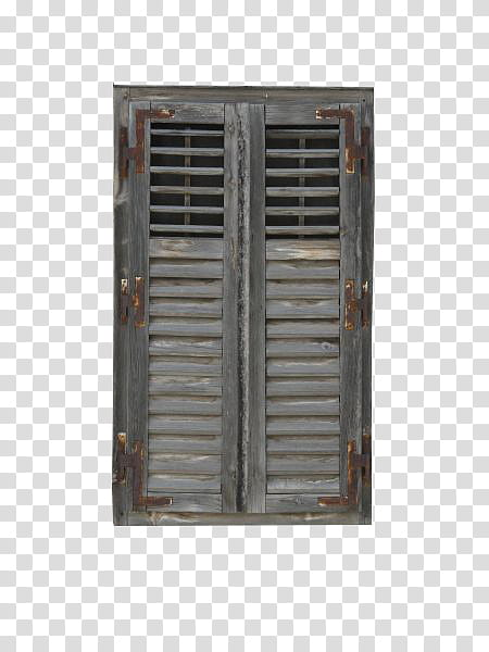 Windows, two gray wooden louver doors transparent background.