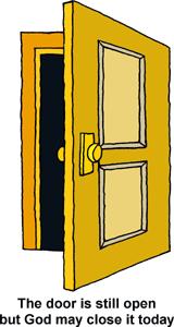 Clip art open door.