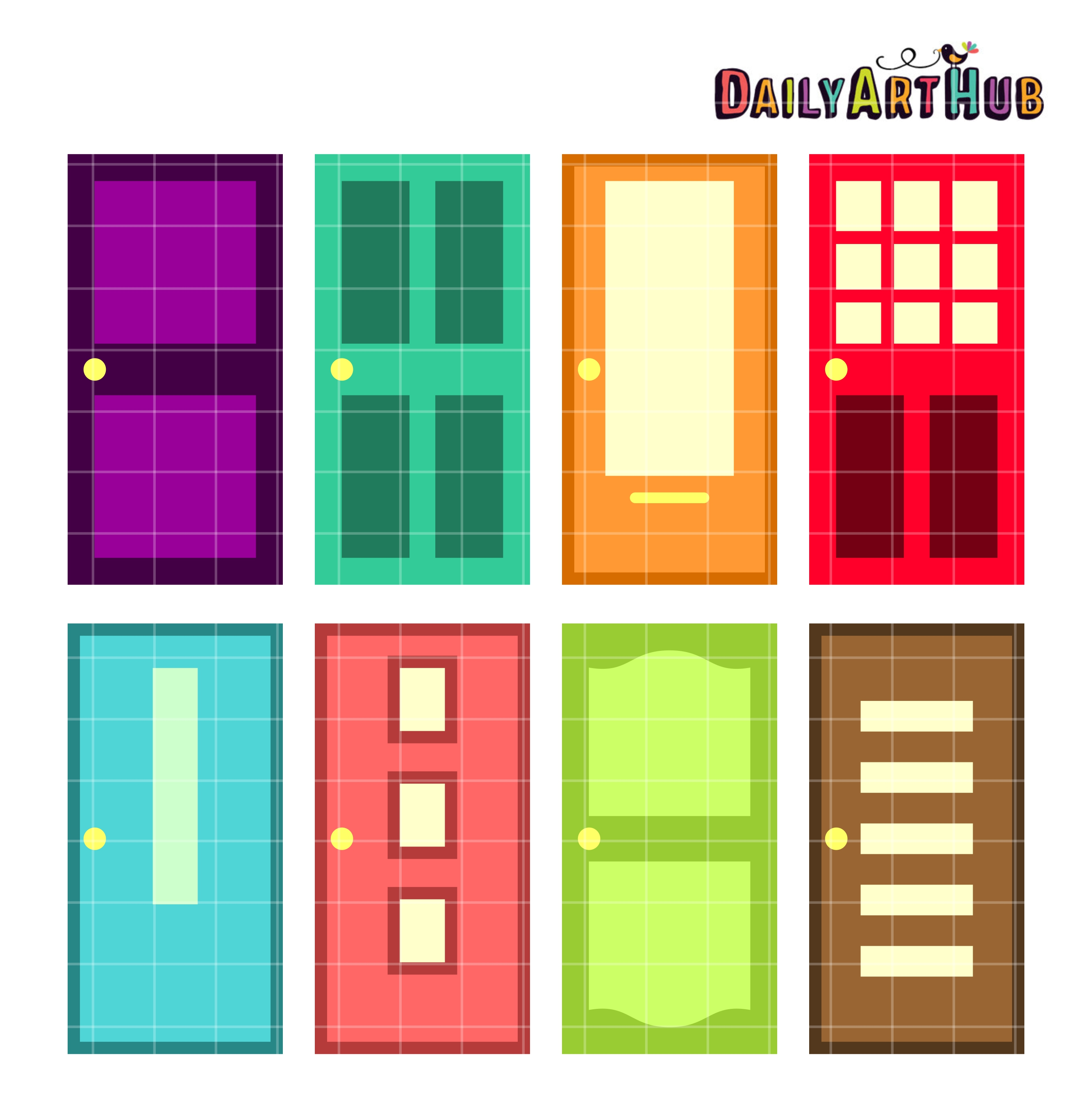 Colorful Doors Clip Art Set.