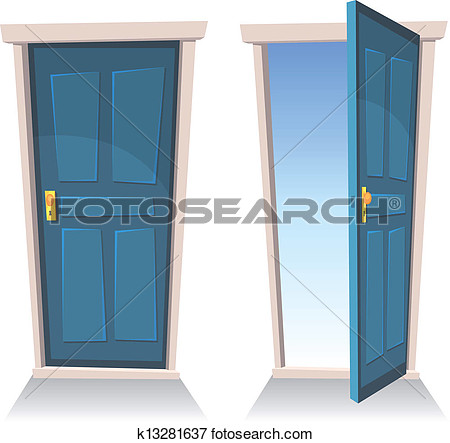 Open and closed door clipart.