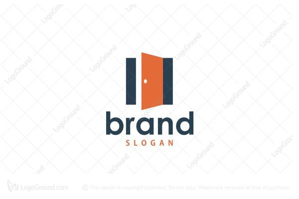 Exclusive Logo 166844, Orange Open Door Logo.