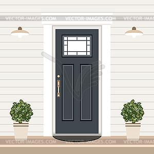 House door front with doorstep and steps, window,.