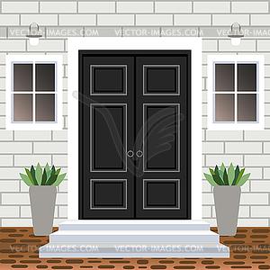 House door front with doorstep and steps, widow,.