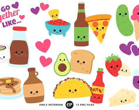 Valentine\'s Day Clip Art, Perfect Pair Clipart, Kawaii Food.