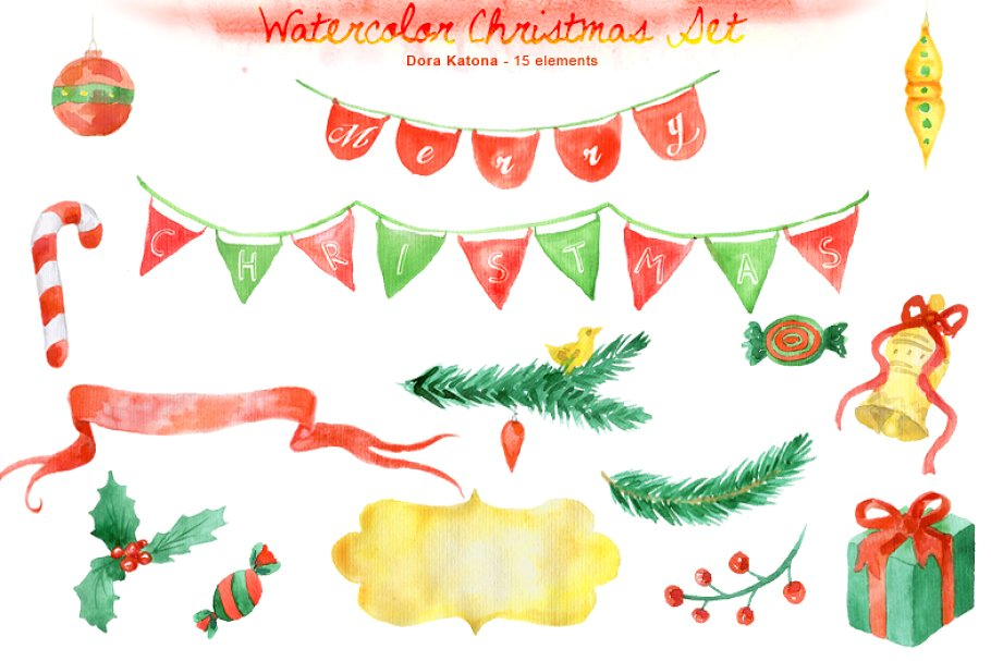 Watercolor Christmas Clipart Set.