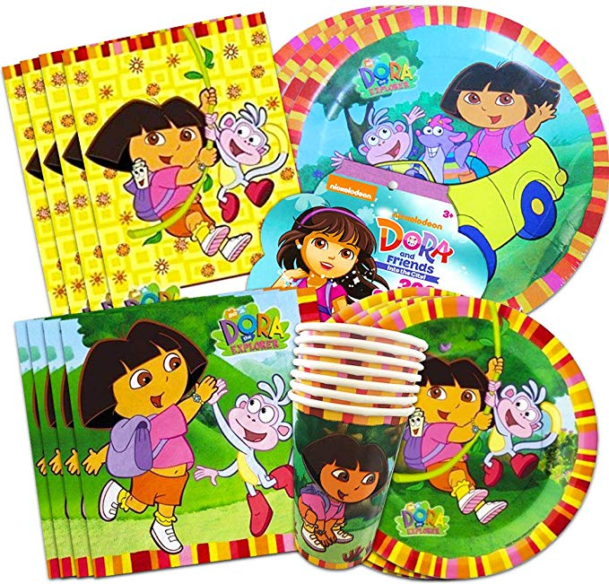 Dora the Explorer Party Supplies Ultimate Set ~ Birthday Party Decorations,  Party Favors, Plates, Cups, Napkins and More (Dora Party Supplies).