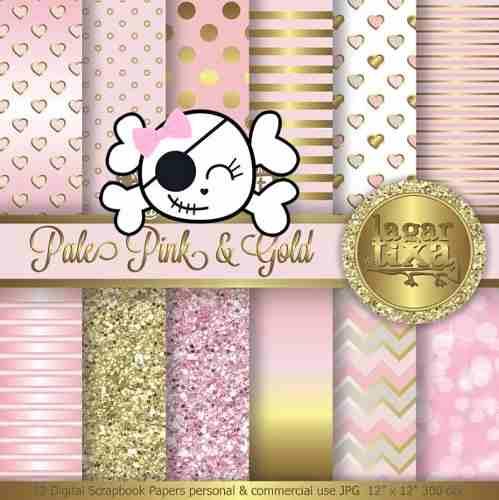 Kit Imprimible Pack Fondos Rosa Y Dorado Clipart.