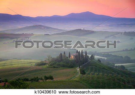 Stock Photography of Tuscany Farmhouse Belvedere at dawn, San.