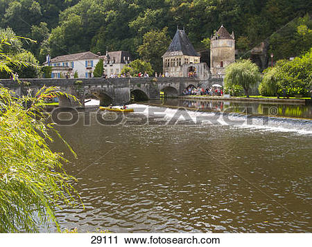 Stock Photography of Bridge and historical buildings, Brantome.