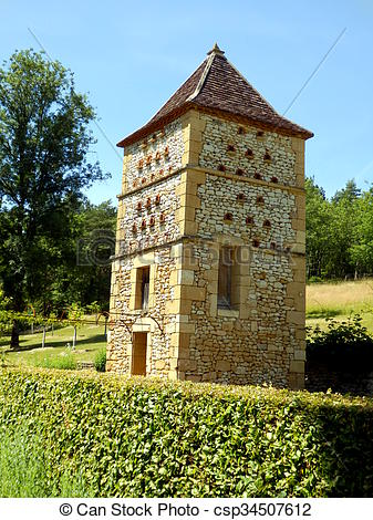 Stock Photography of Pigeonnier in Dordogne, France.