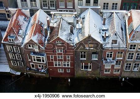 Stock Images of canal houses in Dordrecht, netherlands. x4j.
