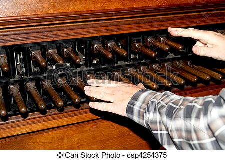 Stock Images of Man playing a carillon in Dordrecht cathedral.