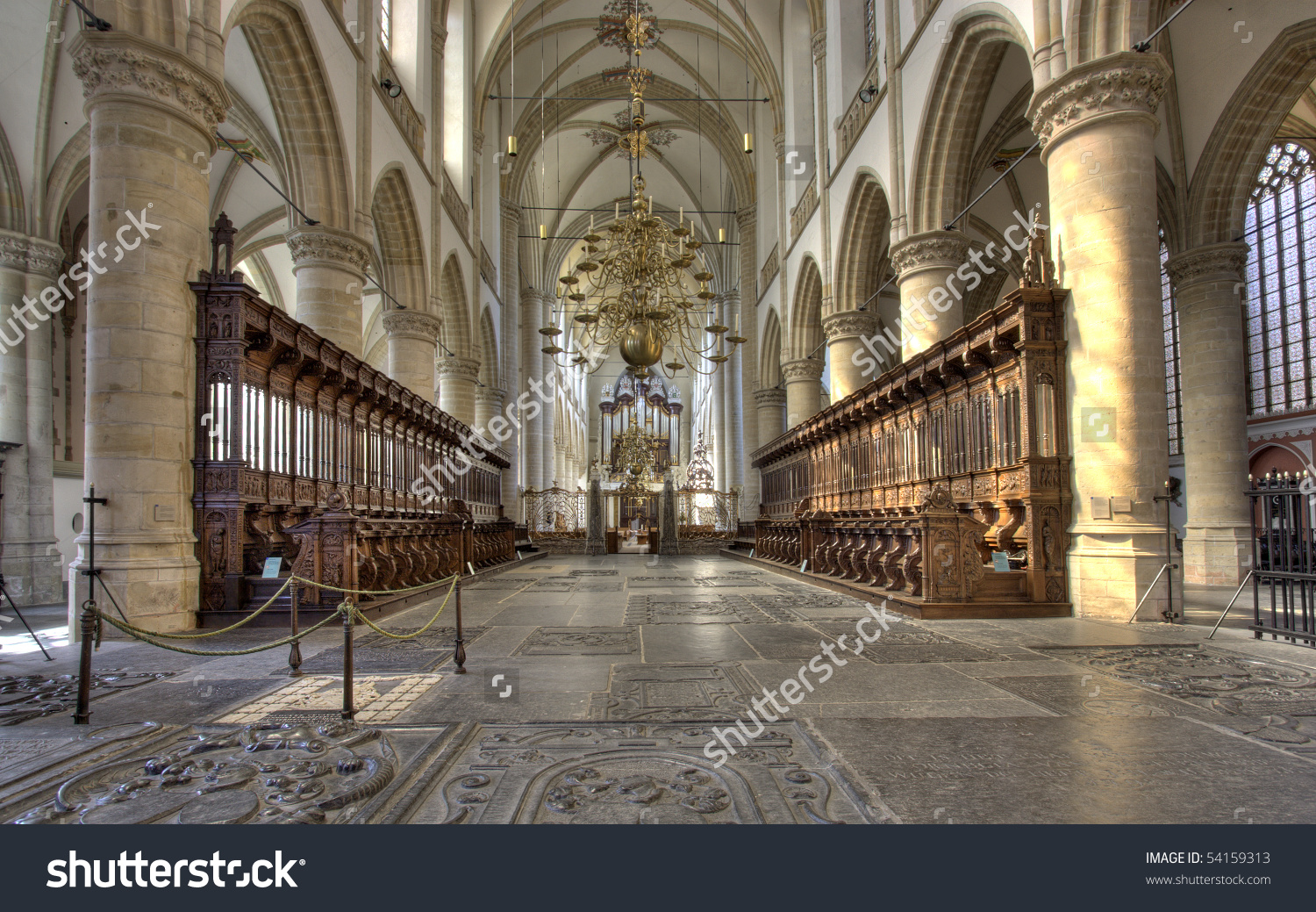 Interior Of Cathedral Of Dordrecht, Holland Stock Photo 54159313.