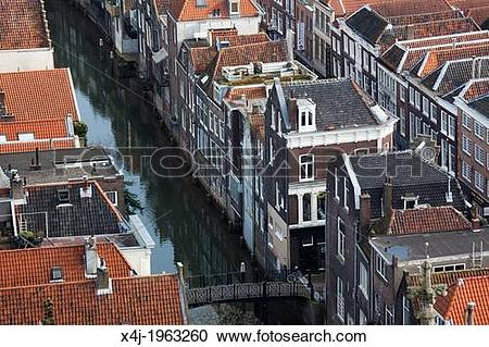 Stock Photography of canal houses in Dordrecht, netherlands. x4j.