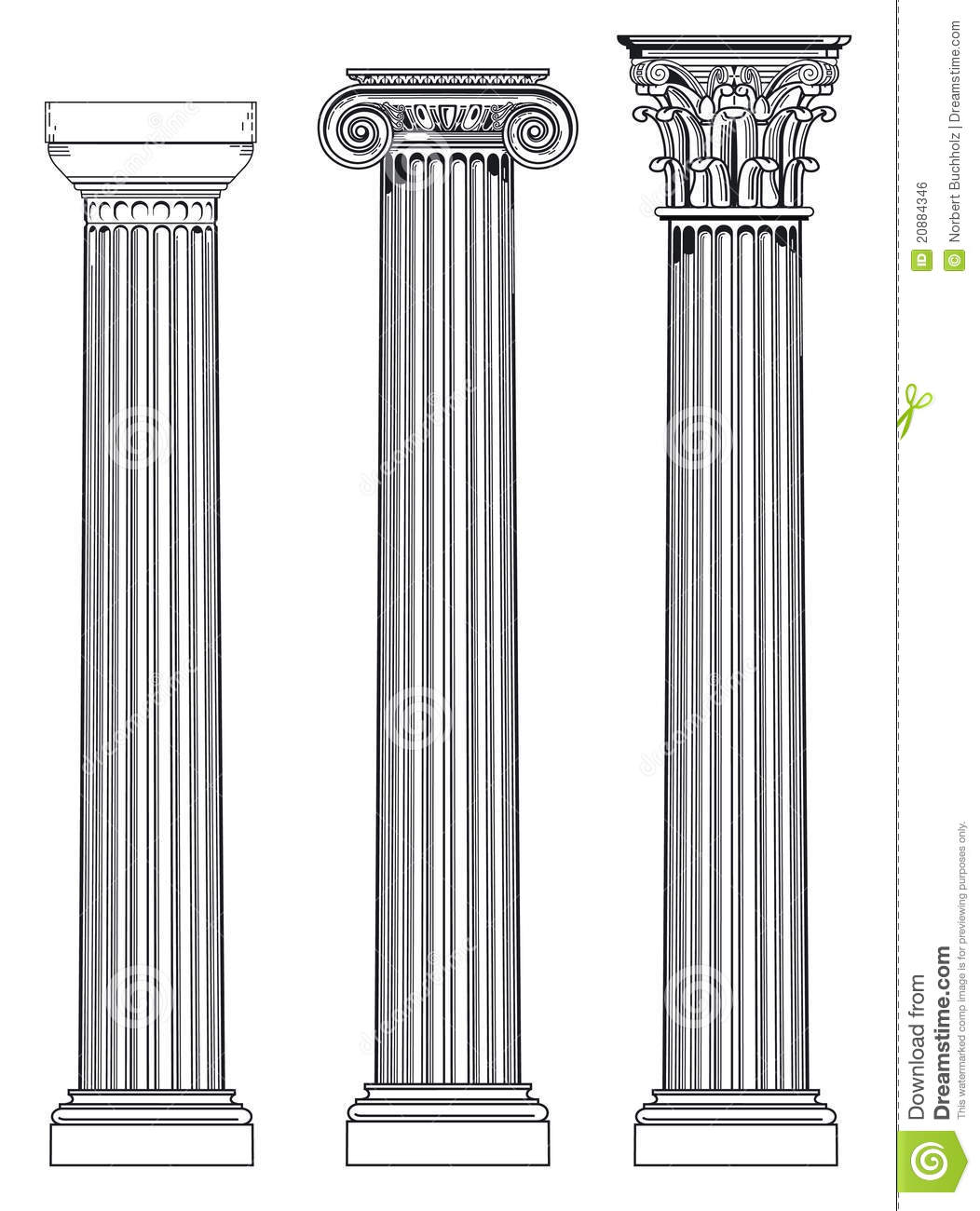 Doric, Ionian And Corinthian Royalty Free Stock Image.