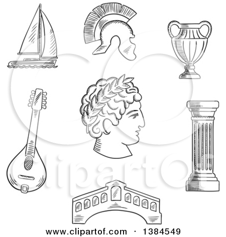 Clipart of a Black and White Sketched Italian Caesar, Roman Helmet.