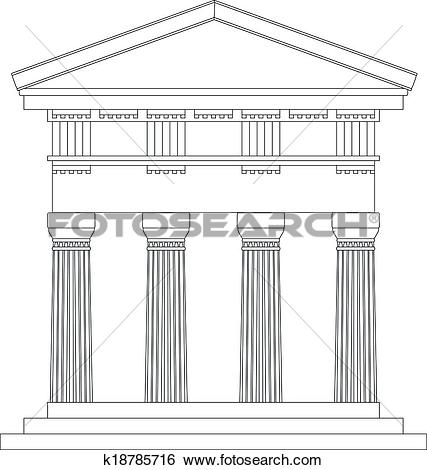 Clip Art of Doric temple k18785716.