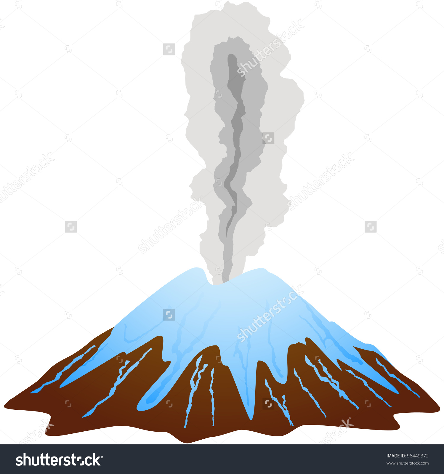 Snow Covered Dormant Volcano Mountain Top Stock Vector 96449372.