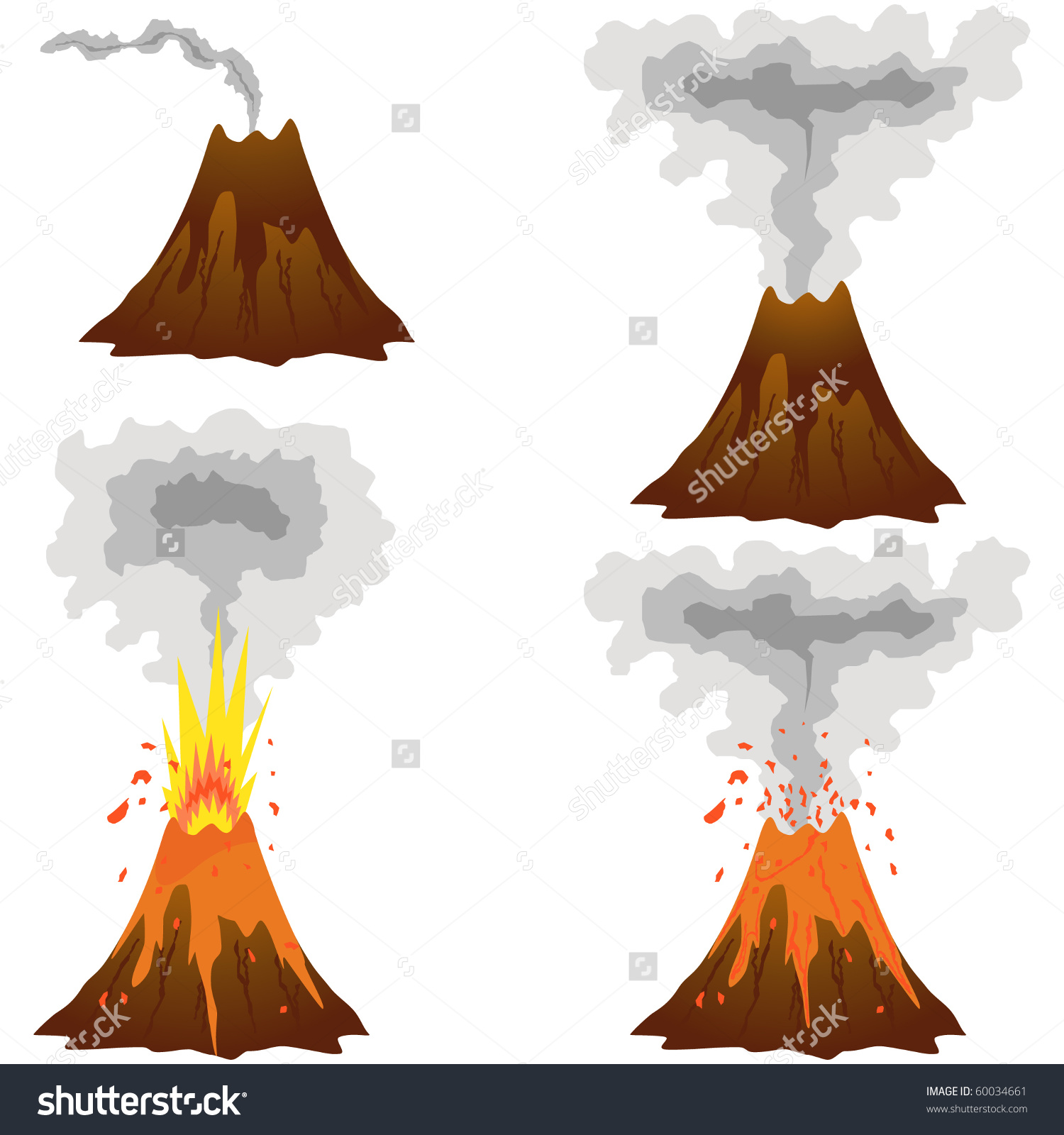 Different Stages Volcano Icon Set Isolated Stock Illustration.