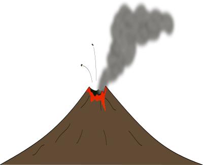 Active volcano clipart.