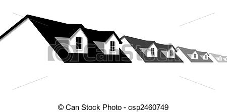 EPS Vectors of home row houses border with dormer roof windows.
