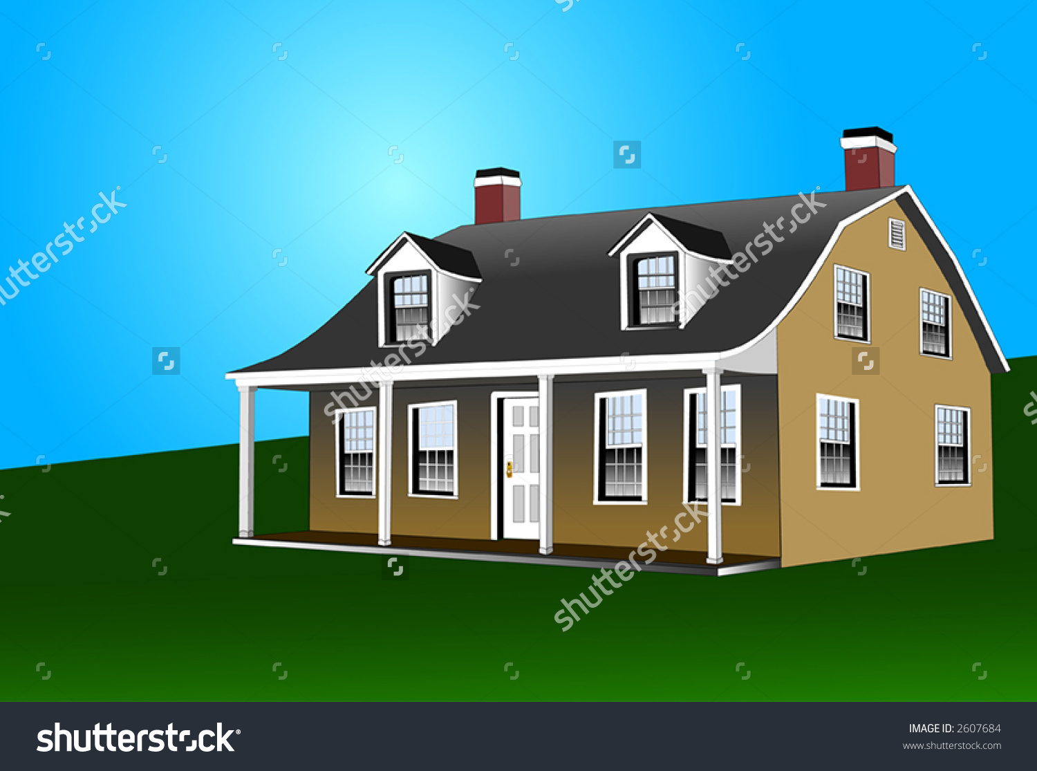 Dutch Colonial Home Gambrel Rooftwo Fireplaces Stock Vector.
