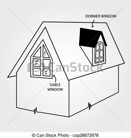 Vectors Illustration of Diagram of dormer and gable window.