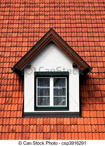 Stock Photography of Dormer windows with glazing bars in a red.