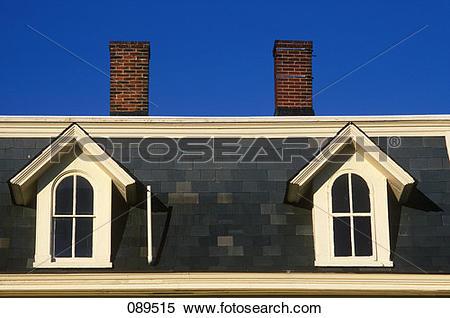 Stock Image of Bucks County Doylestown Pa Dormer Windows Chimneys.