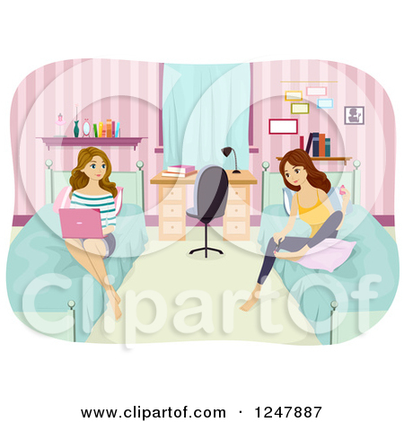 Clipart of Young Women Painting Their Nails and Using a Laptop in.