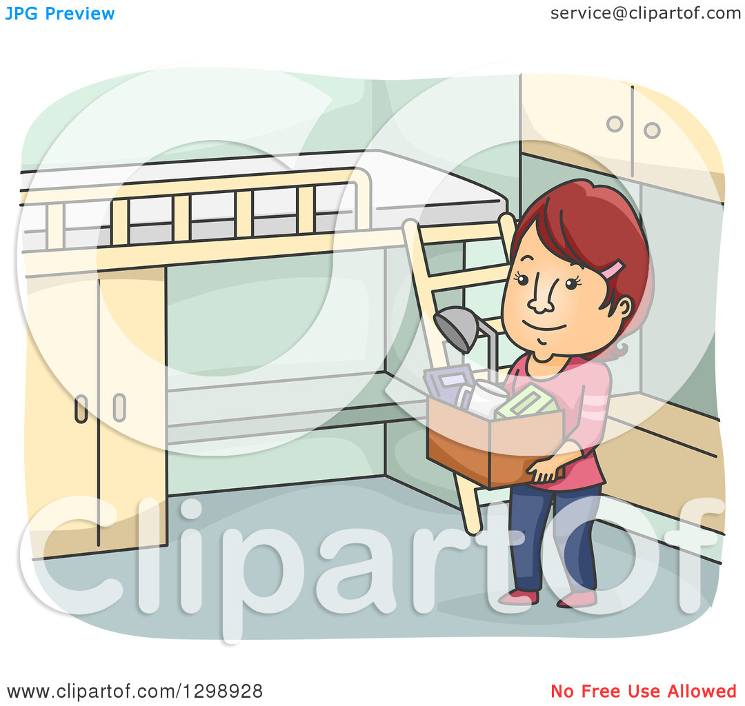 Clipart of a Cartoon Red Haired White Woman Moving into a Dorm.