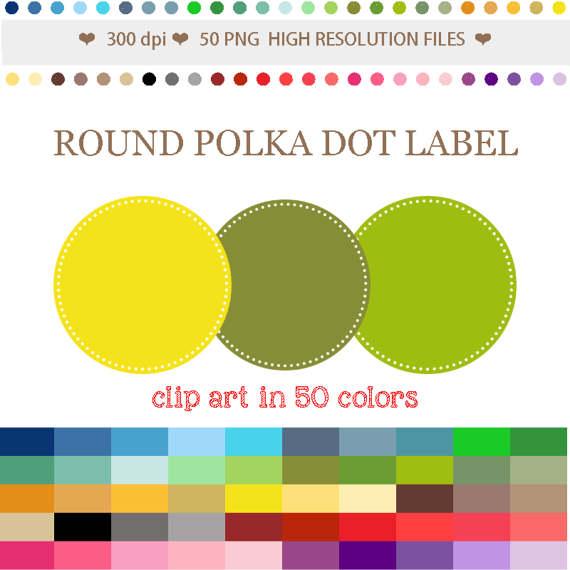 50 Colors Digital ROUND POLKADOT LABEL Clipart Polka Dot Circle.