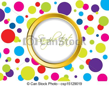 Vector Clip Art of Colorful dotted backdrop with golden ring.