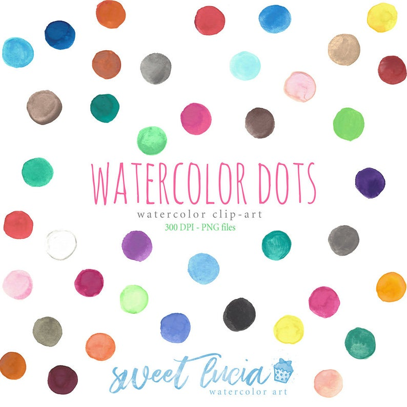 Watercolor Dots Clip Art, Polk Dots Clipart, Watercolour paint splashes,  Dot, Rainbow color, Dots graphics, Watercolor Clipart, Spots.