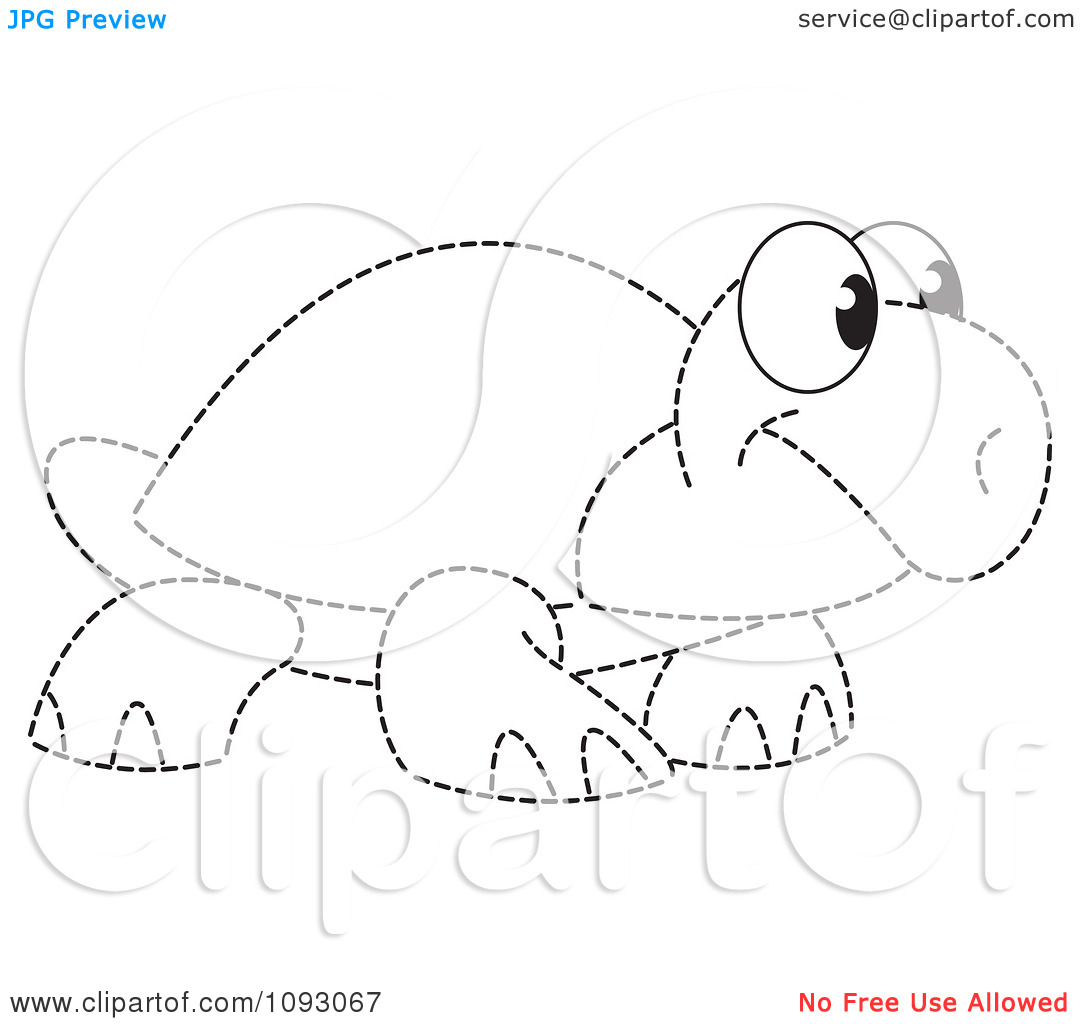 Clipart Dotted Outlined Tortoise.