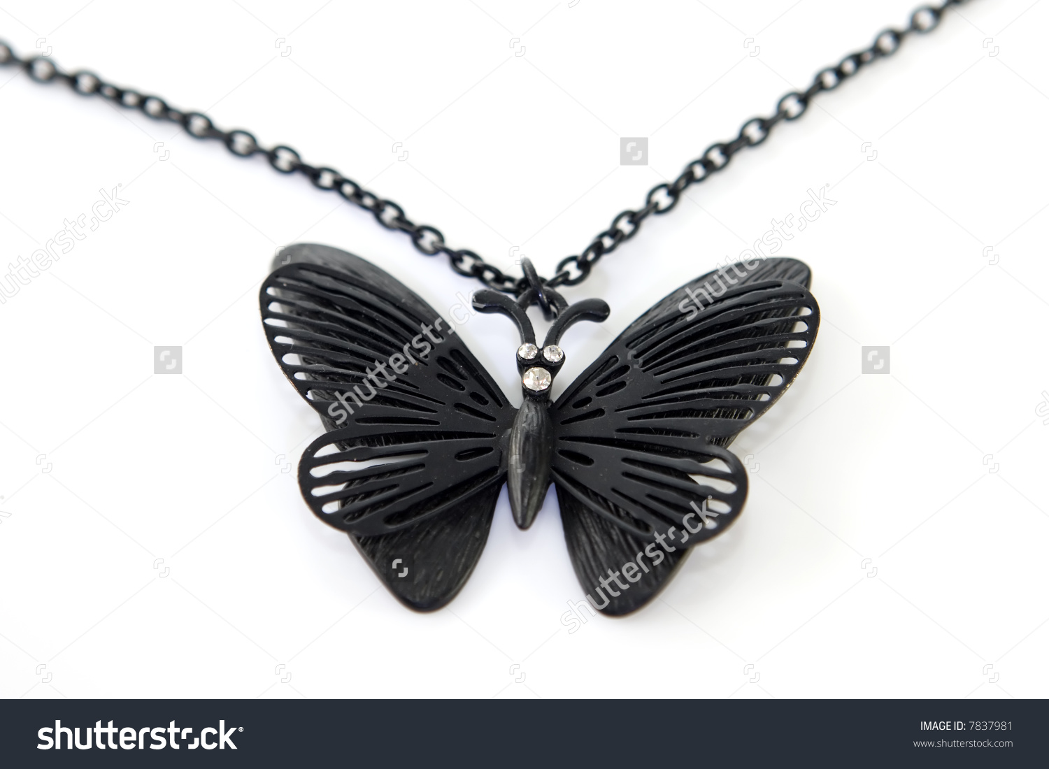 Delicate Black Butterfly Necklace Diamond Eyes Stock Photo 7837981.