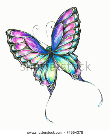 Hand Drawn Butterfly Stock Photos, Royalty.